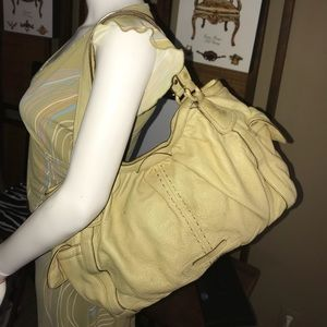 Cole Haan Large Beige Pebble Leather Satchel Bag